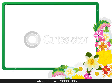 Wildflowers stock vector clipart, Wildflowers on the background of the frame. The illustration on a white background. by Sergey Skryl