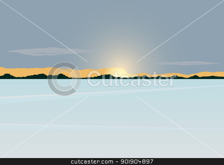 Winter dawn stock vector clipart, The sun on the horizon of the forest stands over the snow-covered pond. by Sergey Skryl