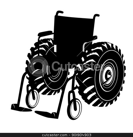 Wheelchair stock vector clipart, Funny the contour of the wheelchair. Black and white illustration. by Sergey Skryl