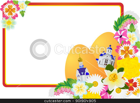 Wildflowers and Easter eggs. stock vector clipart, Easter eggs with ornament and wild flowers. The illustration on a white background. by Sergey Skryl