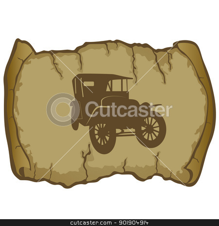 Vintage Car and parchment stock vector clipart, Antique vehicle on a background of parchment. The illustration on a white background. by Sergey Skryl