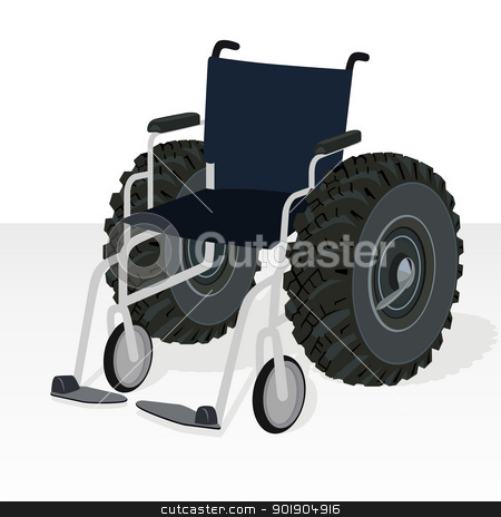 Wheelchair. stock vector clipart, Wheelchair with the wheels of the tractor wheel. Comic illustration. Black and white illustration. by Sergey Skryl