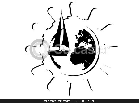 Trip around the world stock vector clipart, Abstract compass points to the compass, and sailing yacht in the background of the wheel. Black and white illustration. by Sergey Skryl