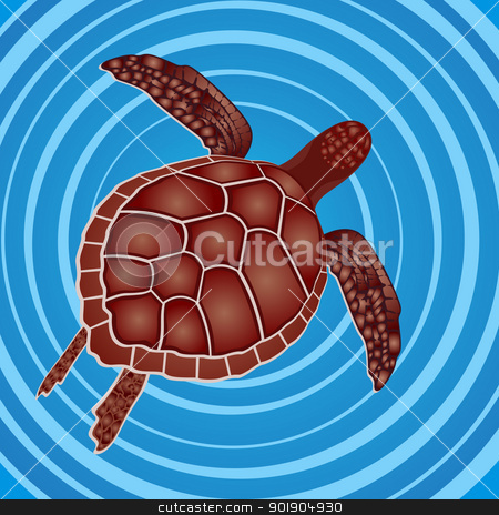 Turtle in the water stock vector clipart, Marine life. Sea turtle swimming in the sea. by Sergey Skryl