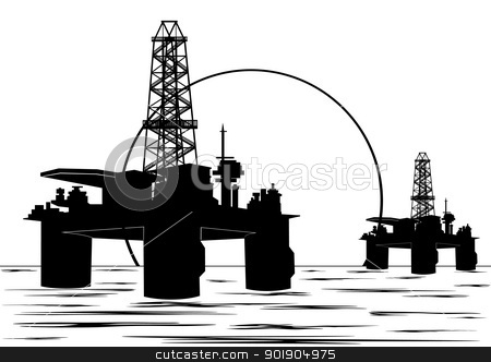 The industrial landscape stock vector clipart, Oil and gas industry. Black and white illustration. by Sergey Skryl