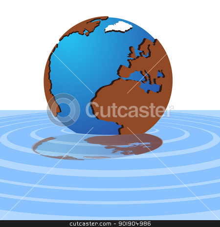 The globe in the water stock vector clipart, Layout of the world and its reflection in the water. The illustration on a white background in the EPS-10 format. by Sergey Skryl