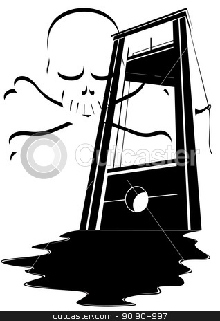 The death penalty stock vector clipart, The ancient device for the death penalty. Black and white illustration. by Sergey Skryl