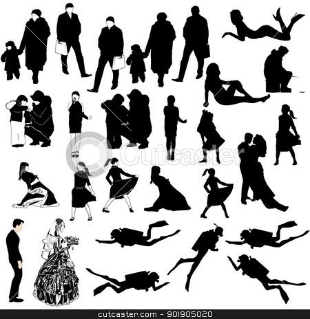 The contours of the people stock vector clipart, Contours of people on a white background by Sergey Skryl