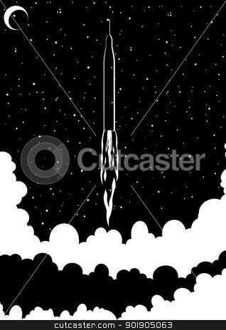 Start stock vector clipart, Space rocket launched into space. Black and white illustration. by Sergey Skryl