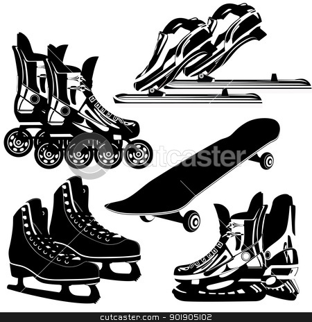 Sports equipment stock vector clipart, The contours of items of sports equipment. Black and white illustration. by Sergey Skryl