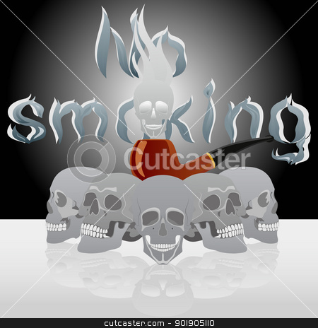 Skull and pipe smoking stock vector clipart, Tube for smoking tobacco and human skulls on the background labels