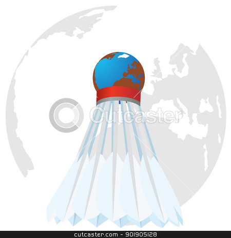 Shuttlecock stock vector clipart, An abstract image of the shuttle on the background of the globe. The illustration on a white background. by Sergey Skryl