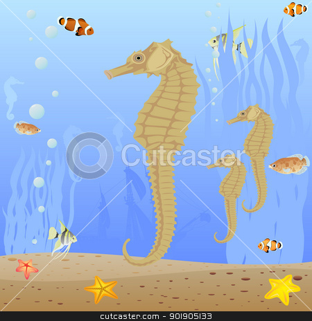 Seahorse stock vector clipart, Marine life. Seahorses swim in the sea. by Sergey Skryl