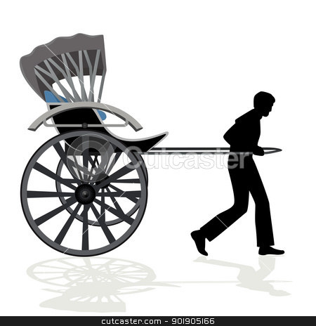 Rickshaw stock vector clipart, A man carries a passenger wagon. The illustration on a white background. by Sergey Skryl