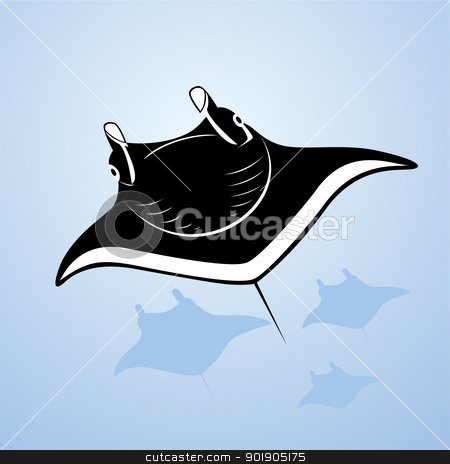 Ramps stock vector clipart, The underwater world. Stingrays swim in the sea by Sergey Skryl