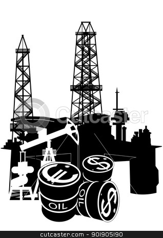 Production and sale of petroleum products stock vector clipart, Oil and gas industry. Black and white illustration by Sergey Skryl