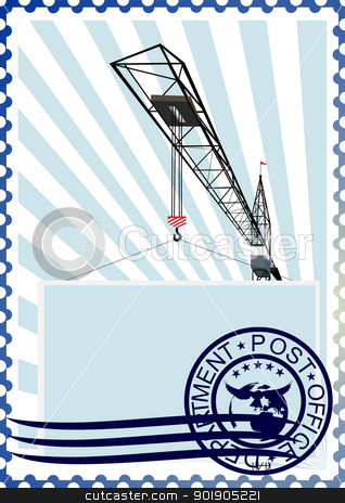 Postage stamp. The construction crane stock vector clipart, The illustration on a postage stamp. Construction tower crane by Sergey Skryl