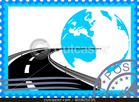 Postage stamp. Road stock vector clipart, The illustration on a postage stamp. Traffic leaving a turn away against the backdrop of the Earth by Sergey Skryl
