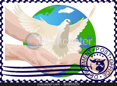 Postage stamp. A white dove stock vector clipart, The illustration on a postage stamp. A white dove in the hands of a man in the background of the Earth. by Sergey Skryl