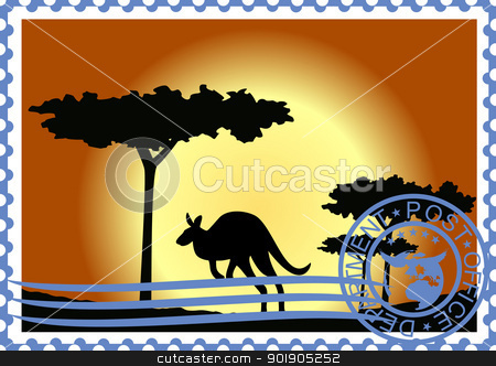 Postage stamp. Australia. stock vector clipart, The illustration on a postage stamp. Flora and fauna of Australia. by Sergey Skryl
