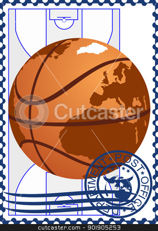 Postage stamp. Basketball stock vector clipart, The illustration on a postage stamp. Basketball on the basketball court background. by Sergey Skryl