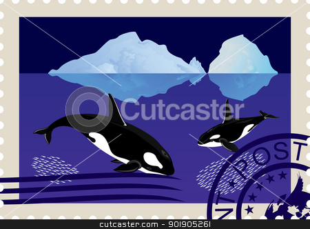Postage stamp with killer whales stock vector clipart, Postage stamp with a picture of killer whales swimming among icebergs and postal stamp. by Sergey Skryl