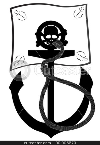 Pirate flag and anchor stock vector clipart, Ships anchor and pirate flag. Black and white illustration. by Sergey Skryl