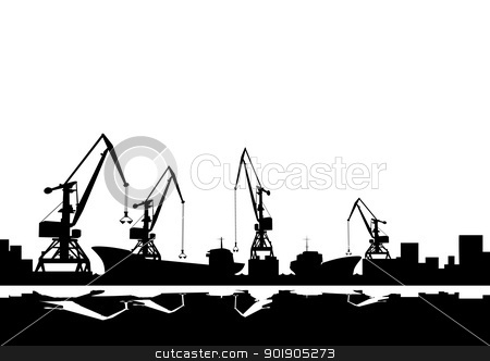 Port cranes and ships stock vector clipart, Working cranes. Black and white illustration. by Sergey Skryl