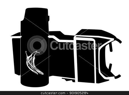 Personal protective equipment stock vector clipart, A can of tear gas and electric shock devices. Black and white illustration. by Sergey Skryl