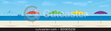 Parasols stock vector clipart, Summer beach. Parasols on the background of the sea. by Sergey Skryl