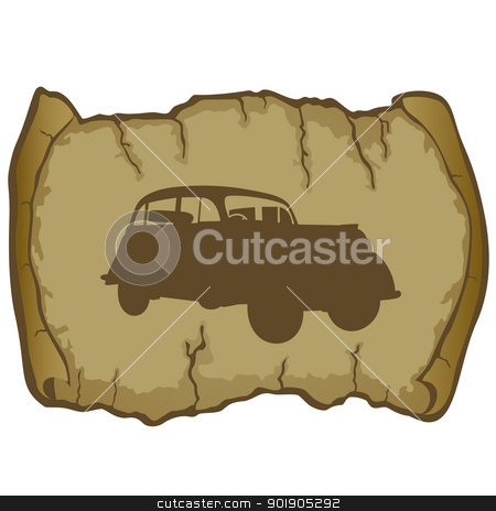Parchment and retro car stock vector clipart, Antique vehicle on a background of parchment. The illustration on a white background. by Sergey Skryl