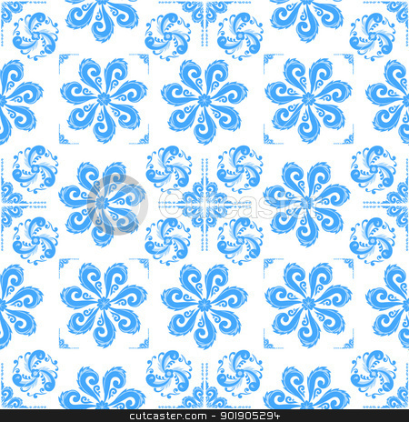 Pattern stock vector clipart, Blue abstract pattern on a white background by Sergey Skryl