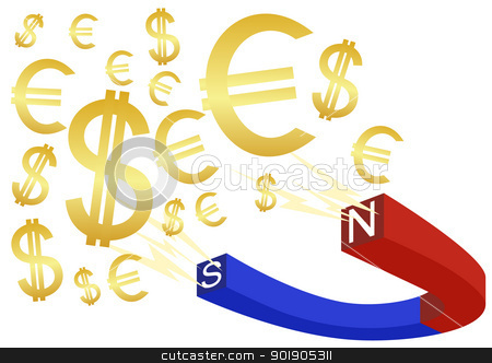 Money magnet stock vector clipart, The magnet is painted in blue and red to indicate the polarity of the signs and banknotes. by Sergey Skryl