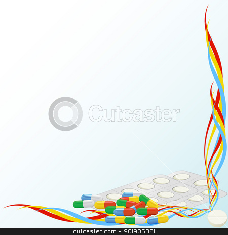 Medications stock vector clipart, Tablets and capsules of medicine against the background of an abstract pattern. by Sergey Skryl