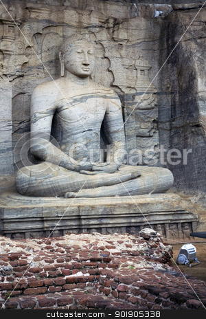Seated Buddha at Polonnaruwa, Sri Lanka stock photo, The statues of the Lord Buddha in Gal Vihara at Polonnaruwa are cut from a single granite wall in 12th century A.D.  The photograph here depicts the seated Buddha meditating and was commisioned by Parakramabahu.  Polonnaruwa is a UNESCO World Heritage site. by Abdul Sami Haqqani