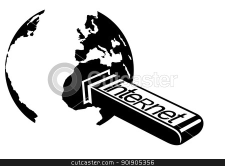 Internet stock vector clipart, An abstract image of the Earth and connected flush the Internet. Black and white illustration. by Sergey Skryl