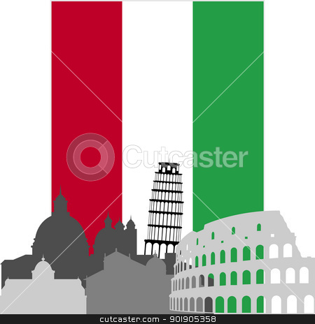Italian architecture stock vector clipart, National Flag and the outline of buildings and architectural structures. The illustration on a white background. by Sergey Skryl
