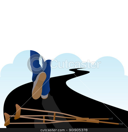 Healthy life stock vector clipart, A man walking along the road and lying on the road spikes by Sergey Skryl