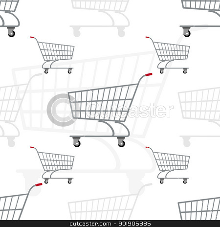 Grocery carts stock vector clipart, Seamless illustration of the trolley for transportation of products. The illustration on a white background. by Sergey Skryl