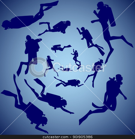 Group of divers stock vector clipart, Group of divers swimming in the sea. Contour illustration. by Sergey Skryl