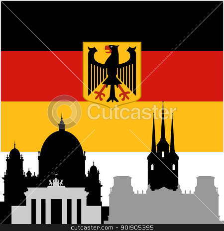 German architecture stock vector clipart, National Flag and the outline of buildings and architectural structures. The illustration on a white background. by Sergey Skryl