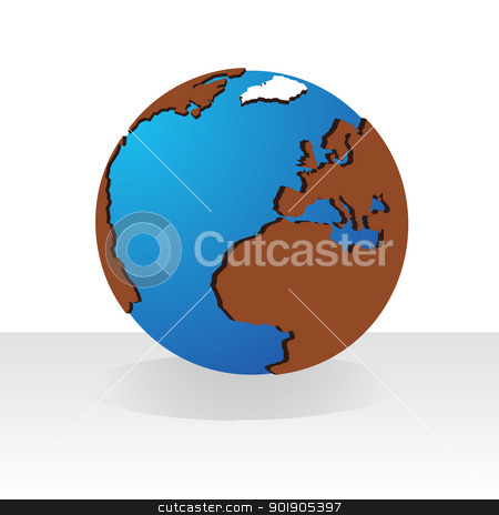Globe stock vector clipart, Layout of the world. Illustration on white background. by Sergey Skryl