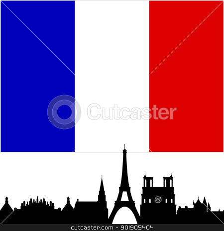 France stock vector clipart, National Flag and the outline of buildings and architectural structures. The illustration on a white background. by Sergey Skryl