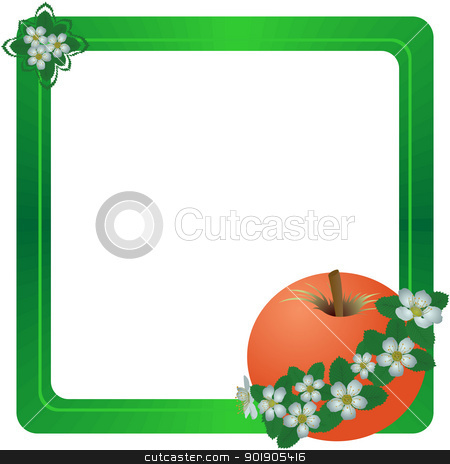 Frame with a red apple stock vector clipart, Apple and apple flowers. The illustration on a white background. by Sergey Skryl