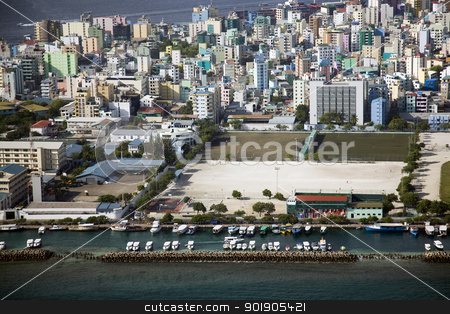 Male, Maldives stock photo, Aerial shot of the Maldivian capital city of Male shot from a plane by Abdul Sami Haqqani