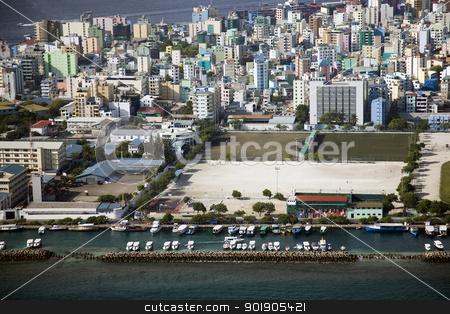 Male, Maldives stock photo, Aerial shot of the Maldivian capital city of Male shot from a plane by Abdul Sami Haqqani