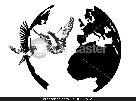 Earth and the doves stock vector clipart, White doves flying against the Earth. Black and white illustration. by Sergey Skryl