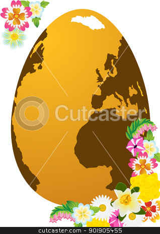 Easter egg and flowers stock vector clipart, Abstract Easter egg and flowers of the field. The illustration on a white background. by Sergey Skryl