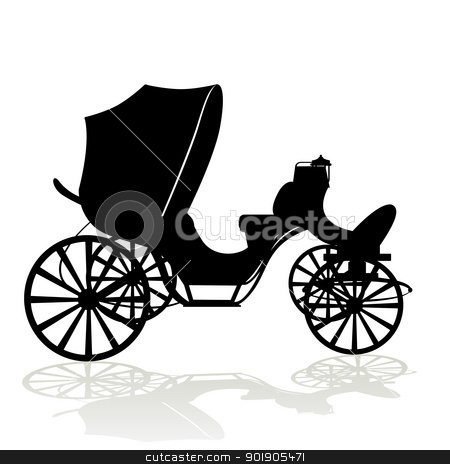 Contour phaeton stock vector clipart, Antique vehicle. Black and white illustration on a white background. by Sergey Skryl