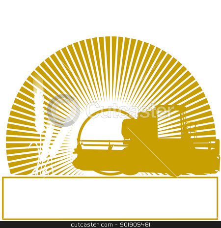 Combine harvester stock vector clipart, Agricultural machinery in the sun. The illustration on a white background. by Sergey Skryl